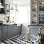 Серая кухня со столовой в стиле ретро